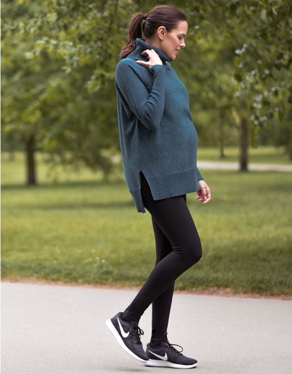 Image for Teal Roll Neck Maternity & Nursing Tunic