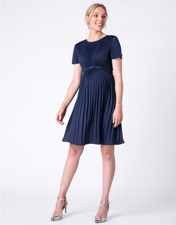 Image for Navy Blue Draped Pleat Maternity Dress