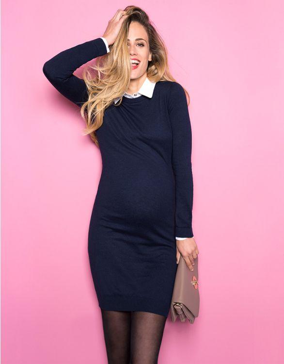 Image pour Robe grossesse en maille avec col chemise - Bleu marine