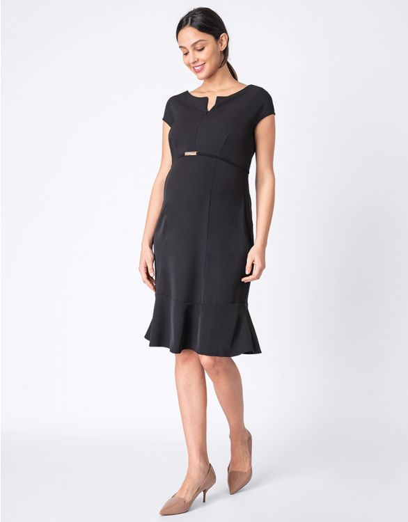Image for Black Maternity & Nursing Dress with Optional Belt
