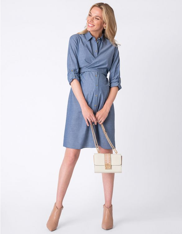 Image for Chambray Shirt Maternity & Nursing Dress