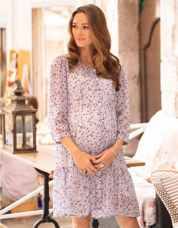 Imagen de Vestido premamá con vuelo  floral azul