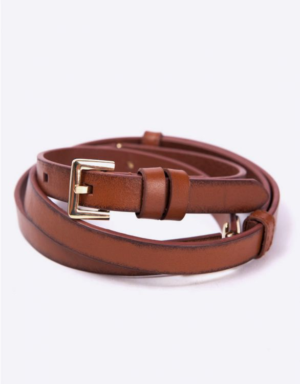 Image for Brown Hinged Leather Maternity Belt