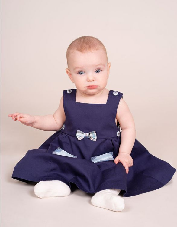 Image for Navy Blue Cotton Pinafore Baby Dress
