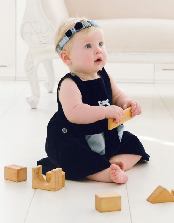 Image for Navy Blue Velvet Baby Pinafore Dress