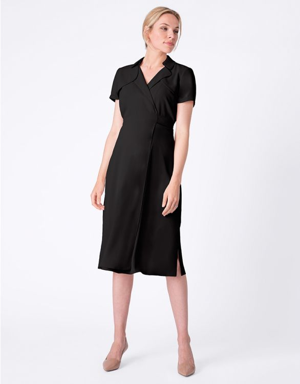 Image for Black Wrap Trench Maternity Dress