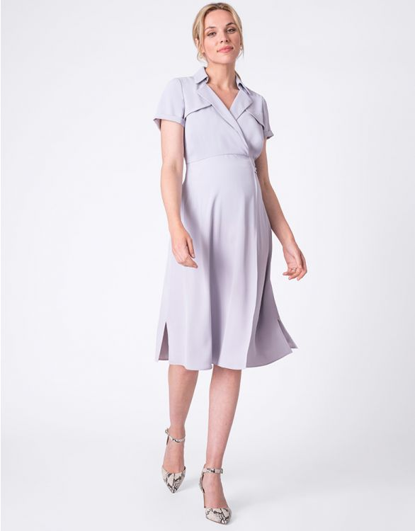 Image for Sky Blue Wrap Trench Maternity Dress