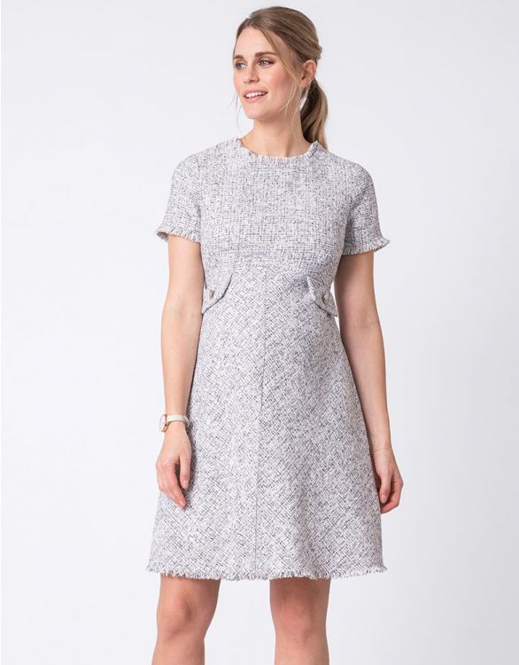 Image for Woven Bouclé Off White Maternity Dress