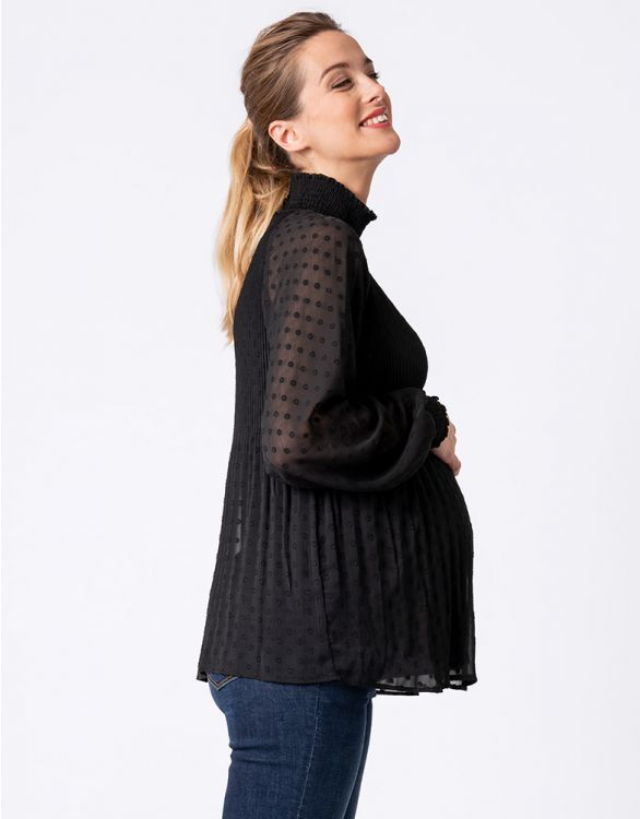 Image for Black Pleated Maternity Blouse