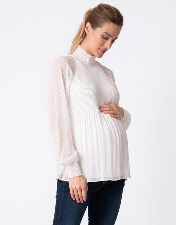 Image for White Pleated Maternity Blouse
