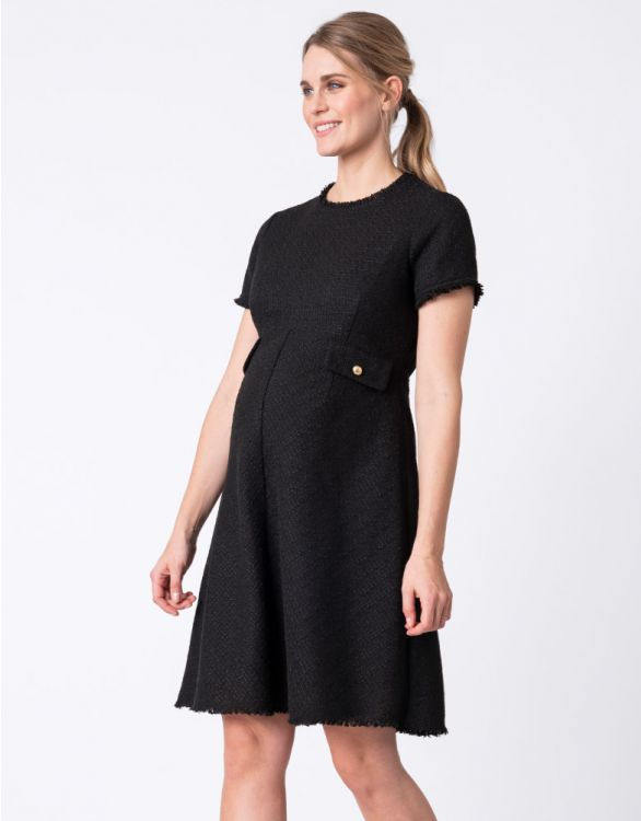 Image for Woven Bouclé Black Maternity Dress
