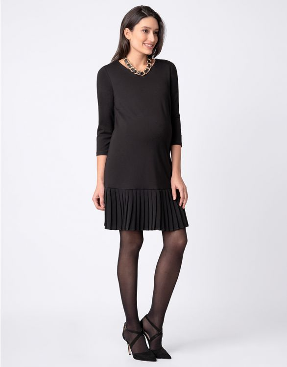 Image for Black Maternity Dress with Pleated Detail