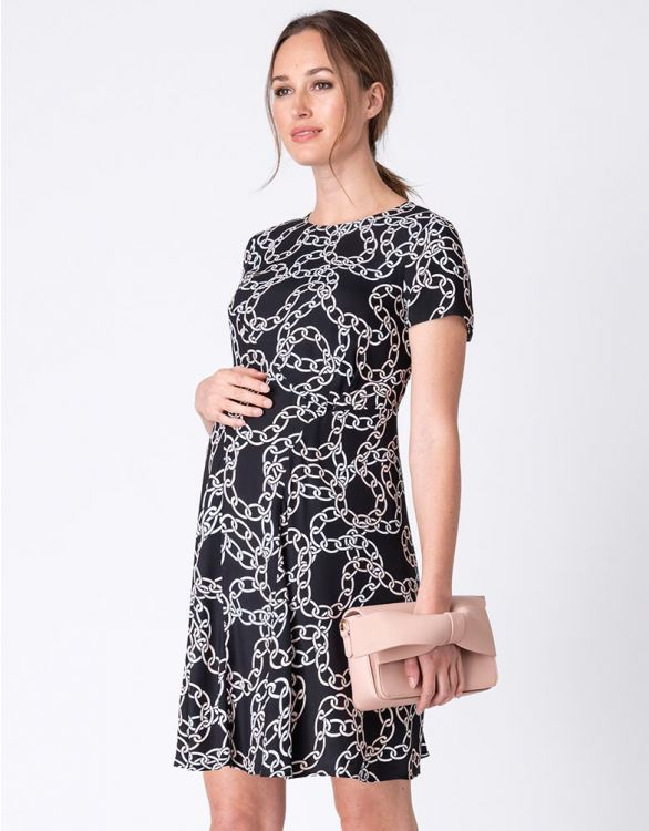 Image for Black Chain Print Maternity Dress