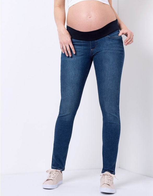 Image for Under Bump Dark Wash Skinny Maternity Jeans