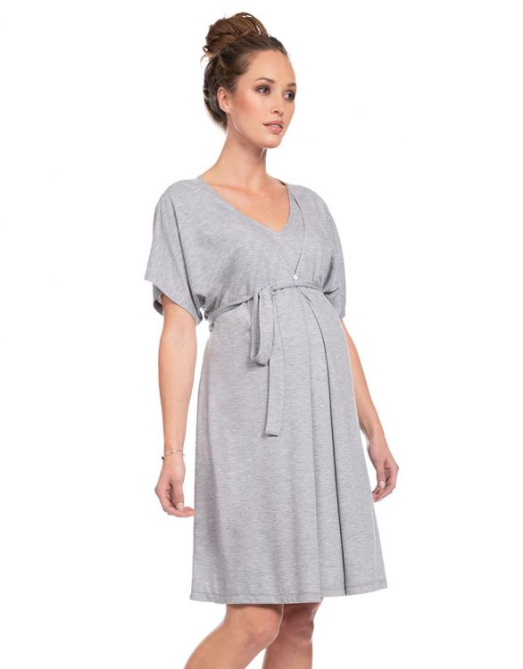 Image for Grey Marl Maternity & Nursing Nightie