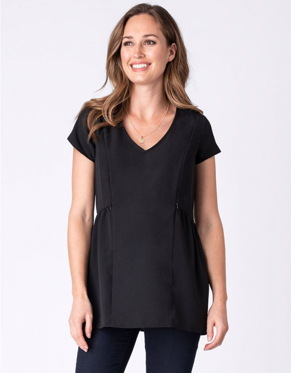 Image for Black Woven Maternity & Nursing Top