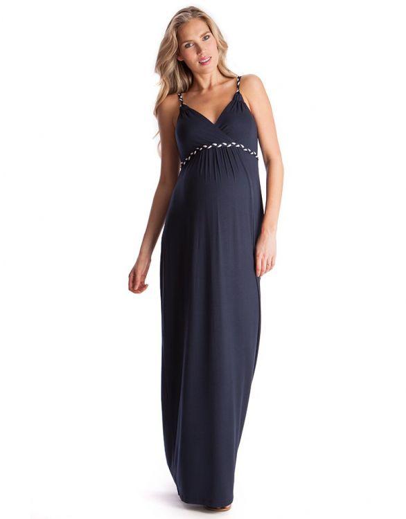 Imagen de Maxi vestido premamá de tirantes - Azul marino