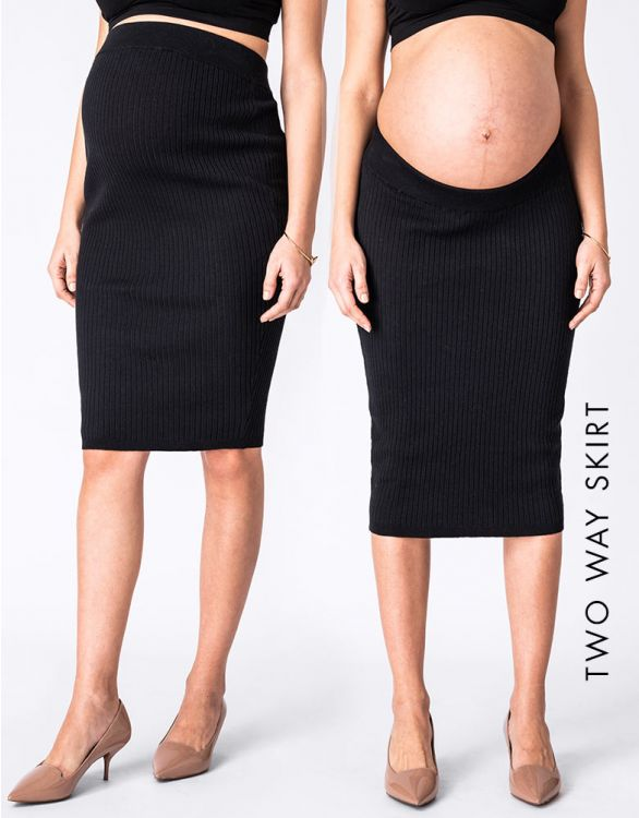 Image for Ribbed Knit Two-Way Maternity Skirt