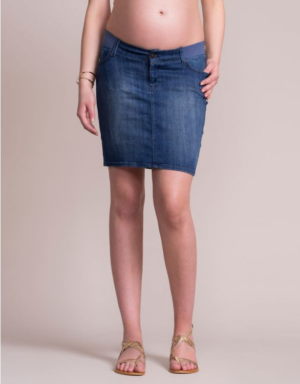 Image for Vintage Wash Denim Maternity Skirt