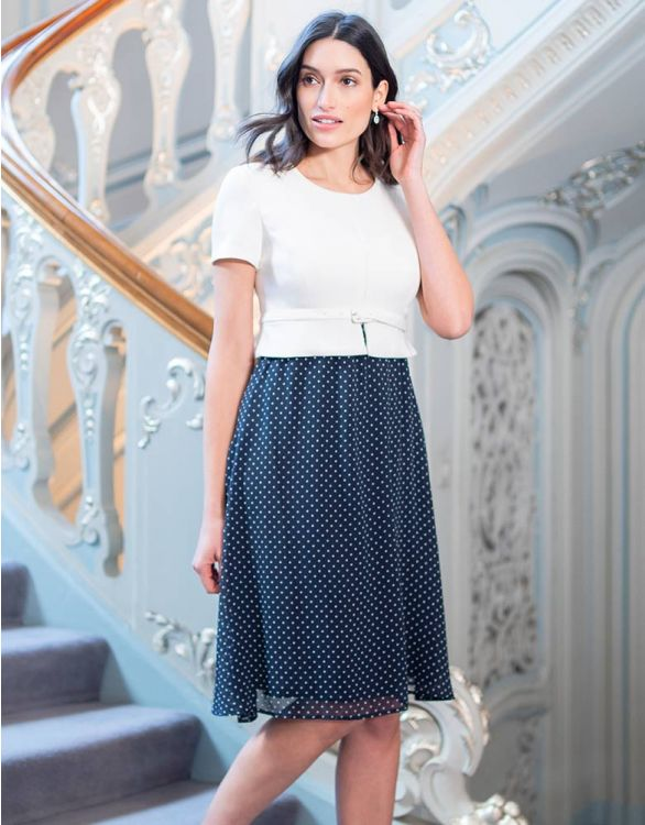 Image for Polka Dot Silk Maternity & Nursing Dress
