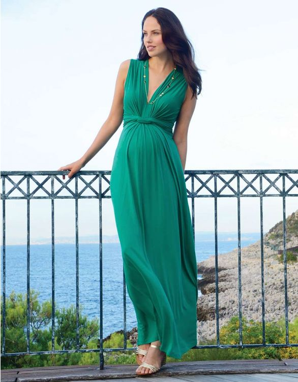Image for Emerald Knot Front Maternity Maxi Dress