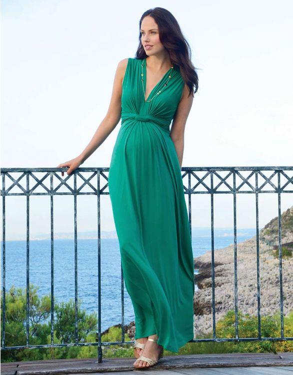 Imagen de Maxi vestido premamá con nudo delantero - Verde esmeralda