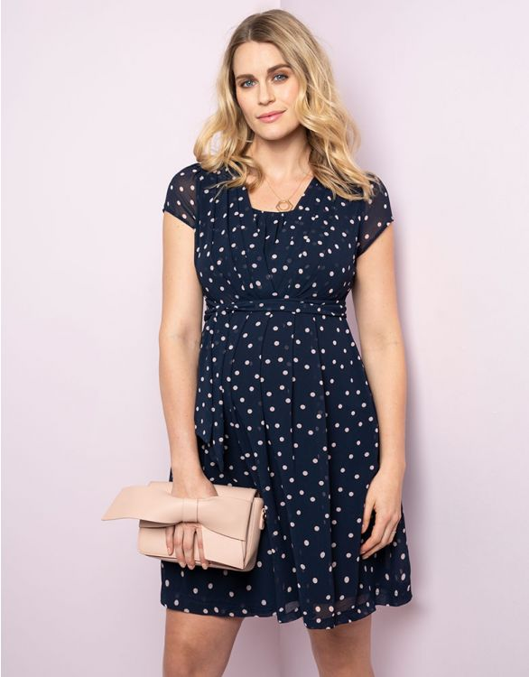 Image for Navy Blue Dot Maternity & Nursing Dress