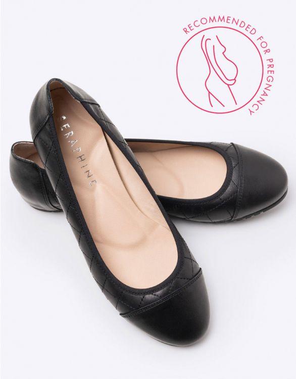 Image for Quilted Black Ballet Pumps