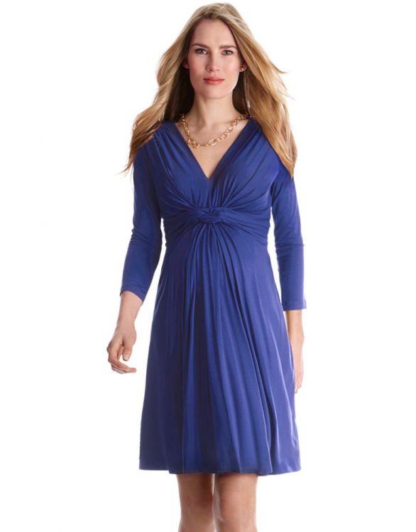 Bild für Umstandskleid mit geknoteter Empire Taille - Königsblau