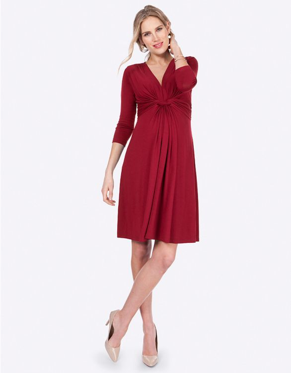 Image for Claret Red Knot Front Maternity Dress