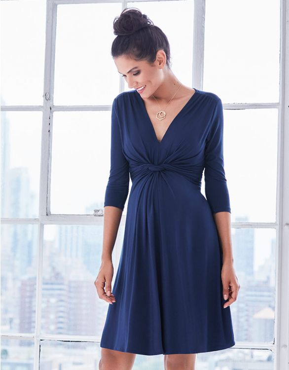 Image for Dark Blue Knot Front Maternity Dress