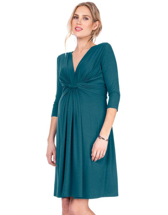 Image for Dark Green Knot Front Maternity Dress