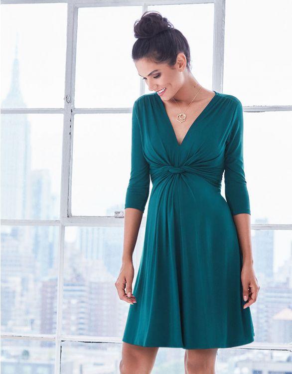 Image pour Robe grossesse nouée manches ¾ - Vert foncé