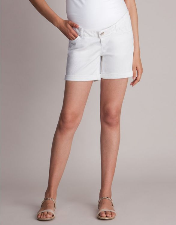 Image for White Denim Maternity Shorts