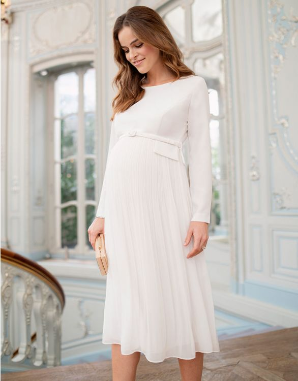 Image for Ivory Pleated Midi Maternity Dress