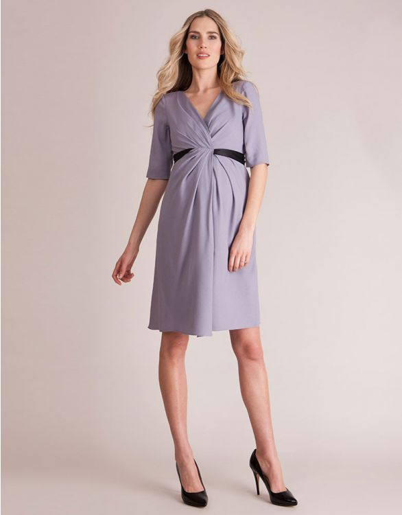 Image for Silver Violet Crepe Drape Maternity Dress