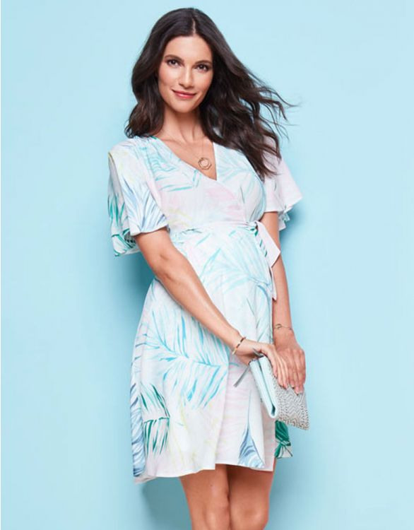 Image for Palm Print Wrap Maternity Dress