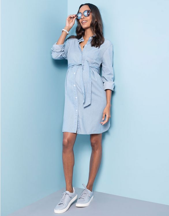 Image for Cotton Chambray Belted Maternity Dress