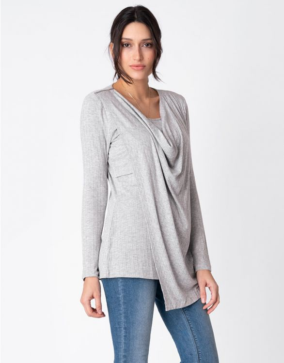 Image for Grey Draped Maternity & Nursing Top