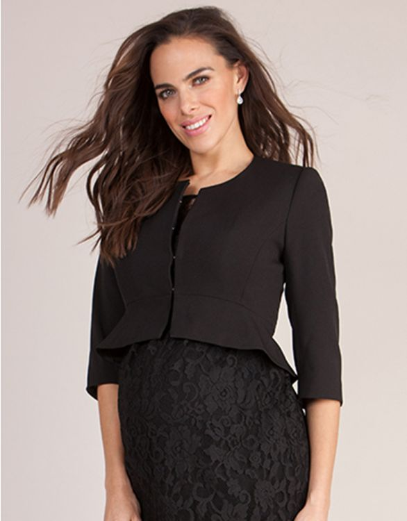 Image for Black Cropped Peplum Maternity Jacket