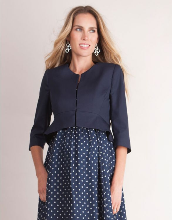 Image for Navy Blue Cropped Peplum Maternity Jacket