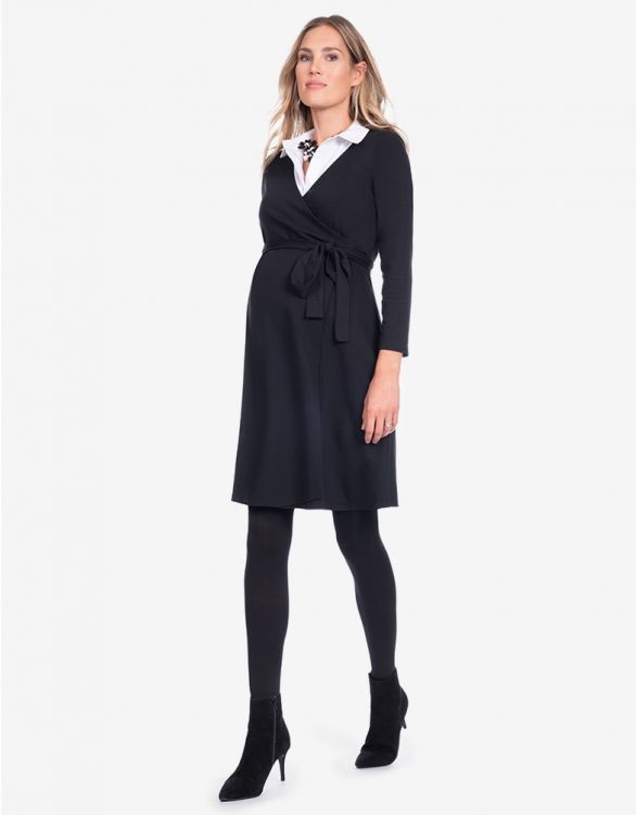 Image for Black Collared Maternity Wrap Dress