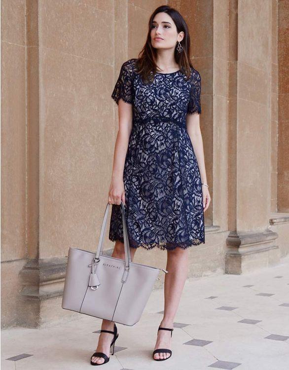 Imagen de Vestido premamá con encaje - Azul marino