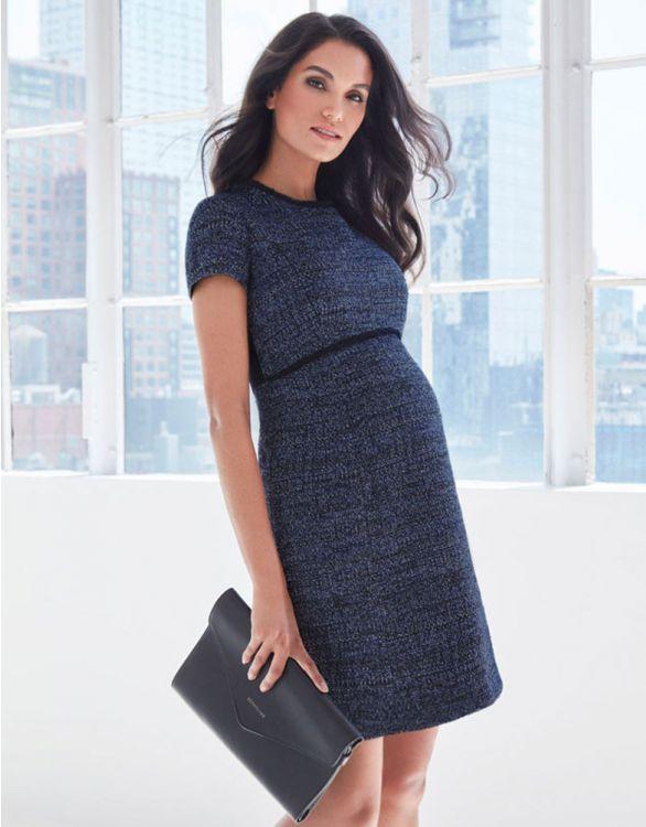 Image pour Robe grossesse en laine bouclée - Bleu