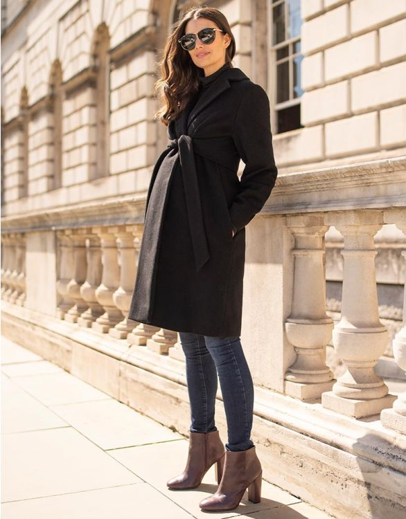 Image for Black Wool Maternity Coat