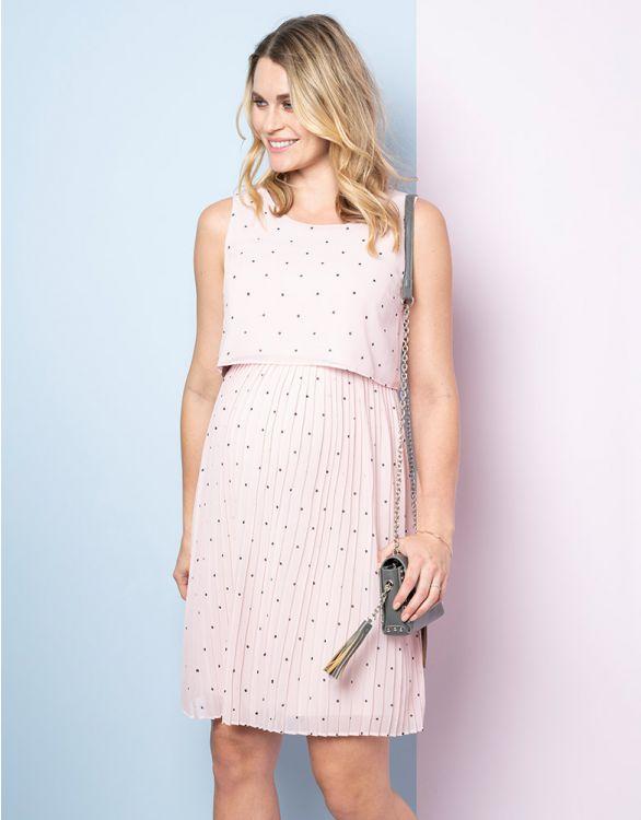Image for Blush Dot Pleated Maternity & Nursing Dress