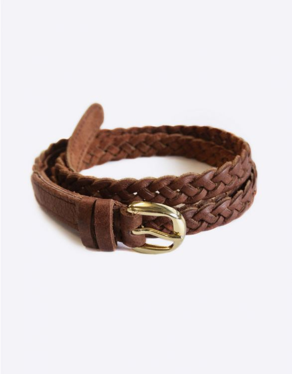 Image for Braided Tan Leather Maternity Belt