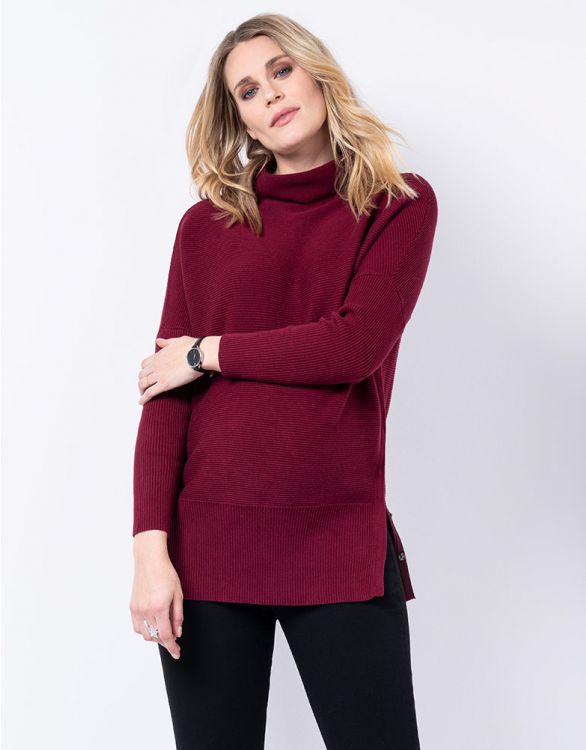 Image for Burgundy Cotton Maternity & Nursing Jumper
