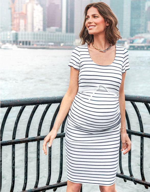 Image pour Robe grossesse marinière galbante