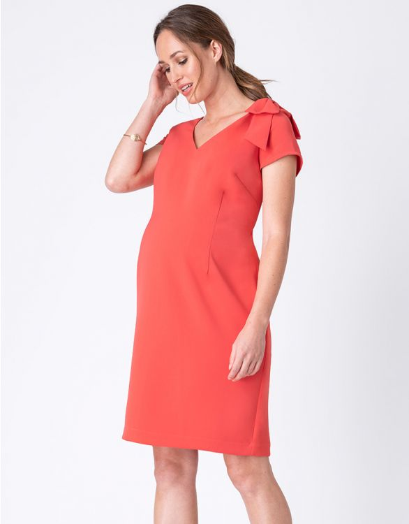Image for Coral Maternity Shift Dress with Bow Detail